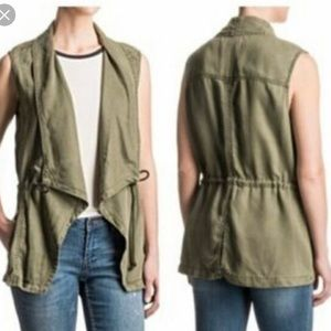 Max Jeans Olive Army Green Drape Vest Size Small